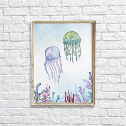 Watercolor Under The Sea Jellyfish Wall Art/Decor Printable