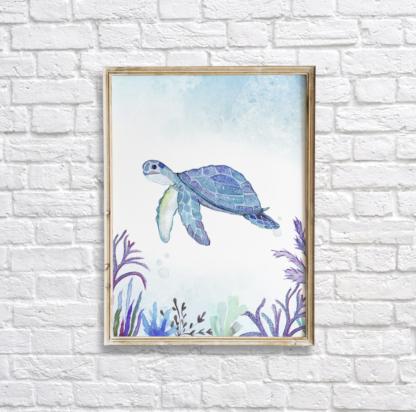 Watercolor Under The Sea Sea Turtle Wall Art/Decor Printable