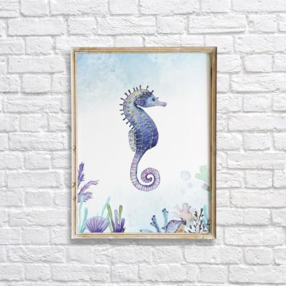 Watercolor Under The Sea Seahorse Wall Art/Decor Printable