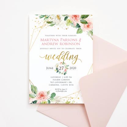 Wedding Invitation Template Set (Blush Flowers/Floral & Gold Frame)