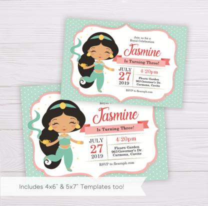 Princess Jasmine of Birthday Invitation Template