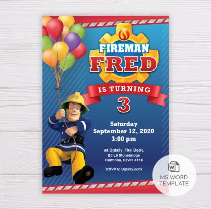 Fireman Sam Invitation Template, Birthday Invitation Template