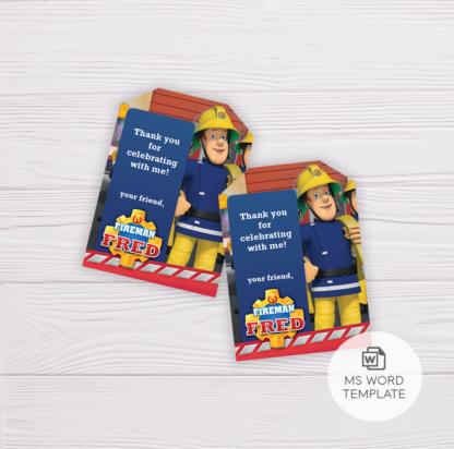 Fireman Sam Thank You Card Template