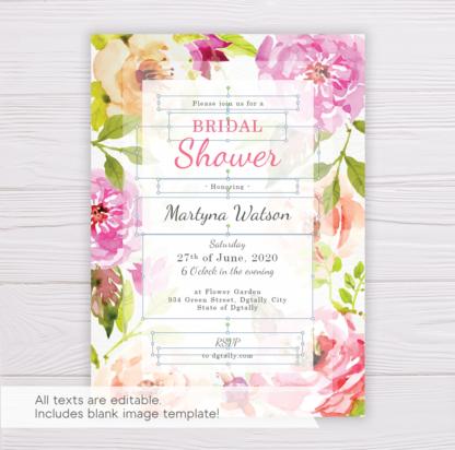 Pink Flowers/Floral Bridal Shower Invitation Template