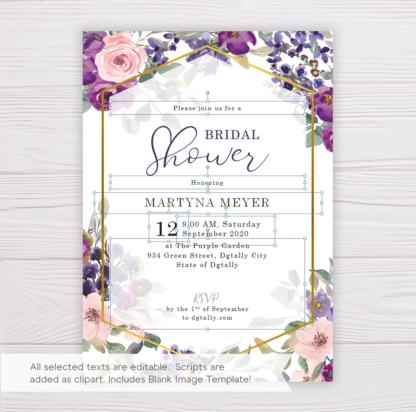 Purple & Blush Flowers Floral Bridal Shower Invitation Template