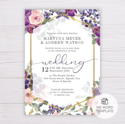 Purple & Blush Flowers Floral Wedding Invitation Template