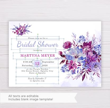 Purple Flowers/Floral Bridal Shower Invitation Template