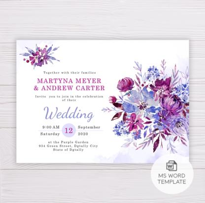 Purple Flowers/Floral Wedding Invitation Template