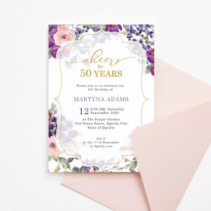 50th Birthday Invitation Template - Cheers to 50 Years