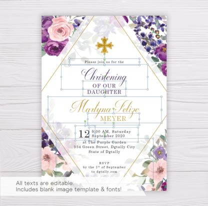 Purple and Blush Flowers Christening Invitation Template