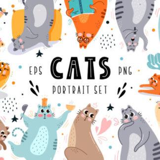 Cats Portrait Set Graphics