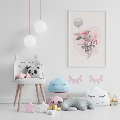 Ballerina Graphic Art Room Wall Decor Printable Set of 3 - Bunny