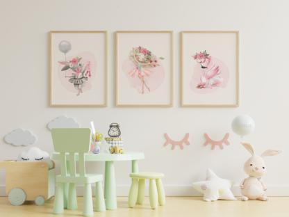 Ballerina Graphic Art Room Wall Decor Printable Set of 3
