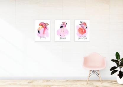 Watercolor Boho Flamingo Graphic, Wall Art, Room Decor Printable Set of 3