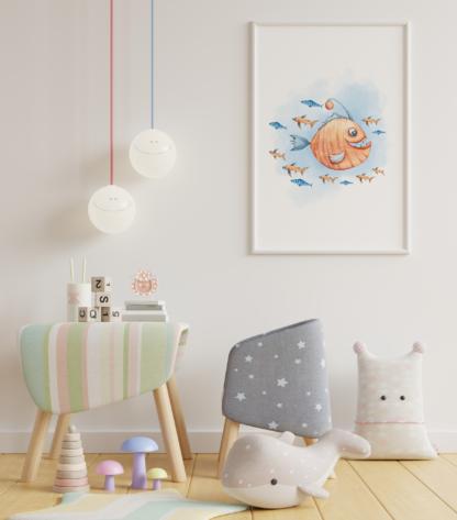 Watercolor Sea Animals Graphic Wall Art Room Decor Printable Set of 4