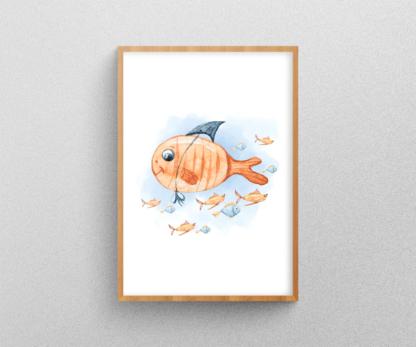 Watercolor Orange Fish Graphic Art Wall Decor Decal Printable