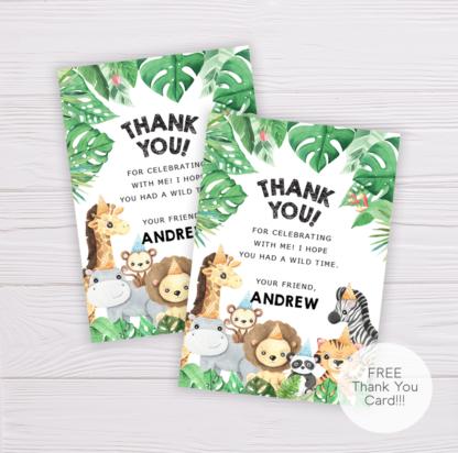 Safari Animals Thank You Card Template