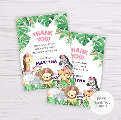Safari Animals Thank You Card Template for Girls - Pink