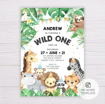 Safari Animals Wild One Invitation Template