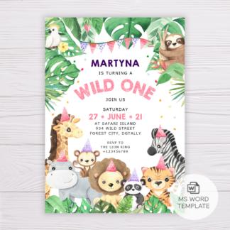 Safari Animals Wild One Invitation Template for Girls - Pink