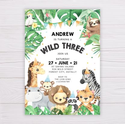 Safari Animals Wild Three Invitation Template