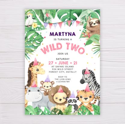Safari Animals Wild Two Invitation Template for Girls - Pink