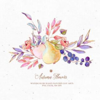 Watercolor Autumn Flowers Clipart Set