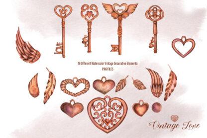 Watercolor Vintage Love Elements Graphics Clipart
