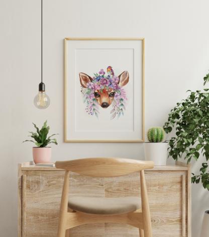 Deer with Flowers Watercolor Graphic Wall Art Room Decor Digital Printable