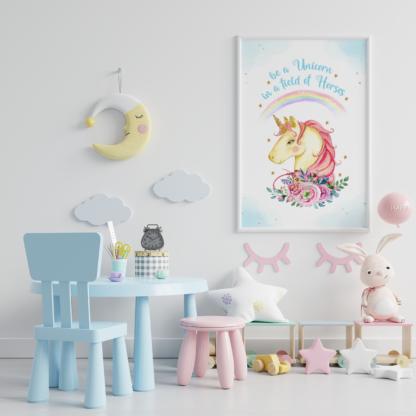 Unicorn Watercolor Graphic Wall Art Room Decor