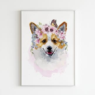 Corgi Dog with Flowers Watercolor Graphic Wall Art Room Deco Printable