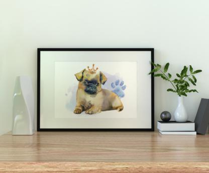 Pug Dog with Crown Watercolor Graphic Wall Art Room Deco Printable